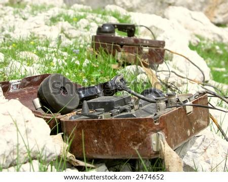 military phone - stock photo
