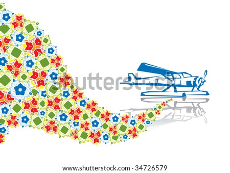 Military plane in abstract collage. Format A4. See this illustration in vector in my portfolio.