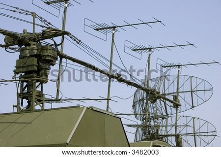 military radar station - stock photo