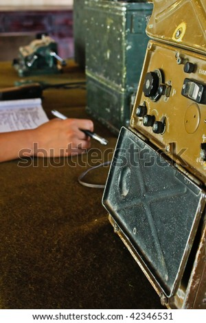 Military radio control room (2) - stock photo