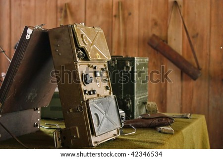 Military radio control room (3) - stock photo