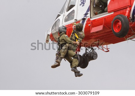 Military rescue czech army helicopter. 19 June 2010, Military Training Area, Jince, Czech Republic - stock photo