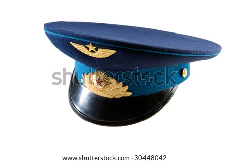 Military service cap worn in ussr army - stock photo