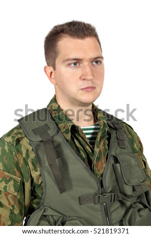 Military serviceman portrait. Iisolated on white