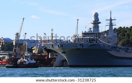 Military ship on the meditteranean sea