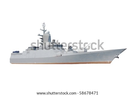 Military ship under the white background - stock photo