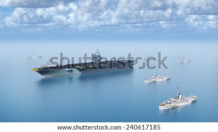 Military Ships Computer generated 3D illustration - stock photo