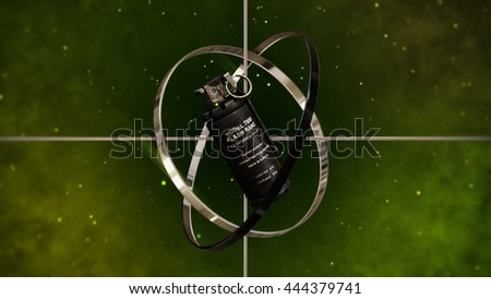 Military Smoke Grenade with Metallic Sight Target. 3D Illustration. - stock photo