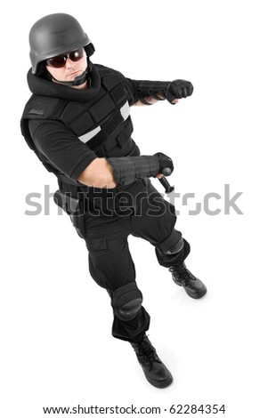military soldier fighting to enemy, isolated in white