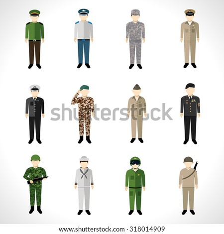 Military soldier in uniform avatar character set isolated  illustration - stock photo