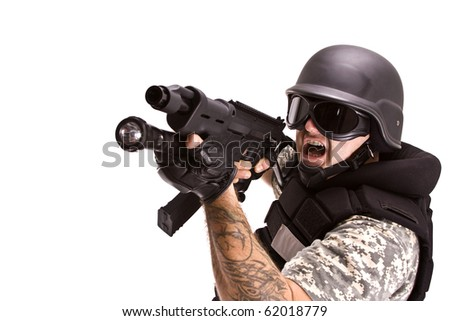 military soldier running up to enemy, isolated in white - stock photo