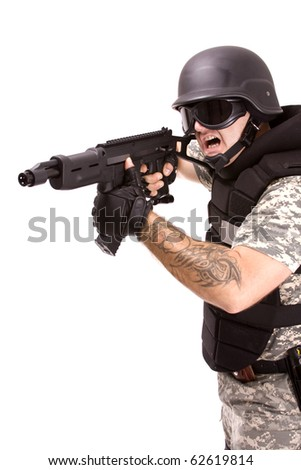 military soldier running up to enemy, isolated in white
