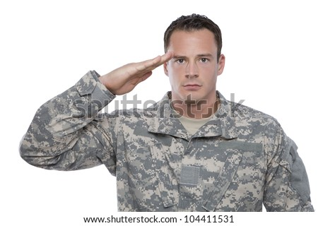 Military Soldier Salutes - stock photo