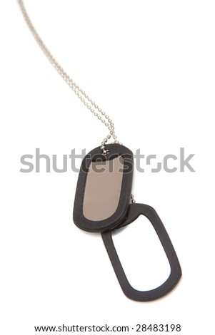 Military style dog tags isolated on a white studio background
