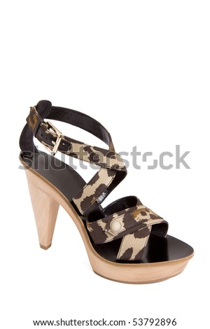 military style women sandal with wooden sole isolated on white