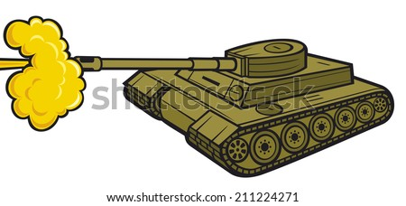 military tank (tank in action, army tank attack) - stock photo