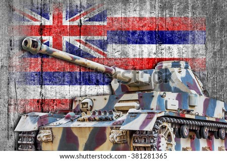 Military tank with concrete Hawaii flag