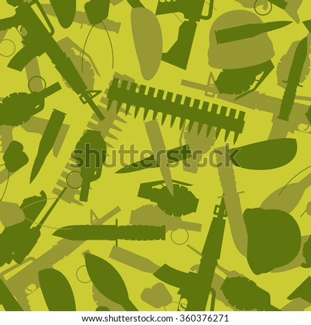 Military texture. Silhouettes of arms and equipment for war. Grenade and knife. Tank and rifle. Soldier protective texture. - stock photo