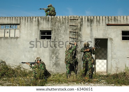Military training combat - Cleaning urban areas - stock photo