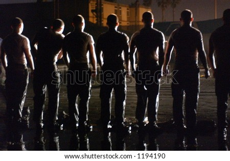 military training standing in line - stock photo