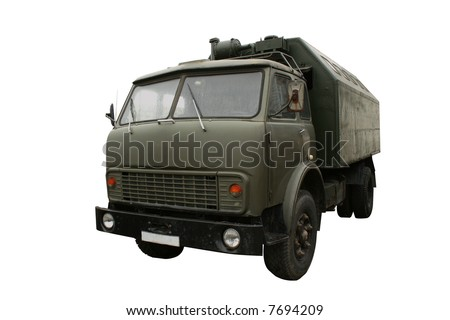 Military truck isolated on white. Clipping paths included.