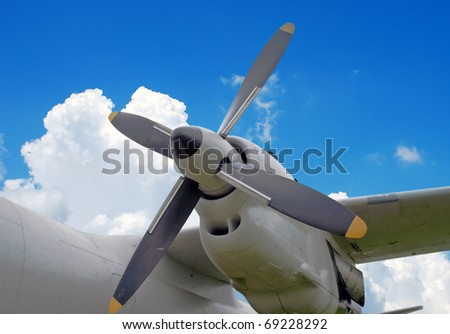 Military turboprop aircraft engine, closeup - stock photo
