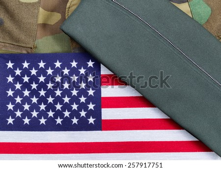 Military uniform with USA Flag and Cap 