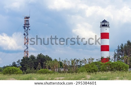 Military watch tower and lighthouse near border of Estonia and Russia. - stock photo
