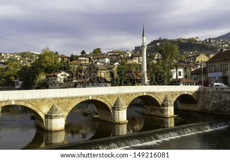 Miljacka river with bridge, Sarajevo, Bosnia and Herzegovina - stock photo