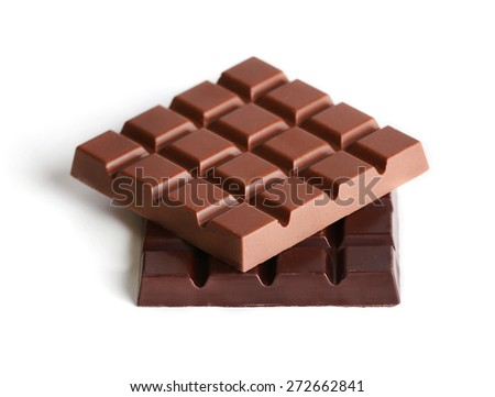 Milk and black chocolate bars isolated on white - stock photo