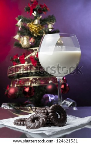 Milk and chocolate cookies for Santa Claus at Christmas Eve