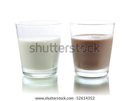 milk and chocolate milk - stock photo