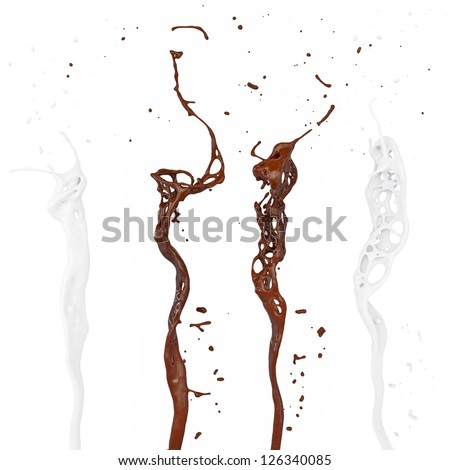 milk and chocolate splash isolated on white