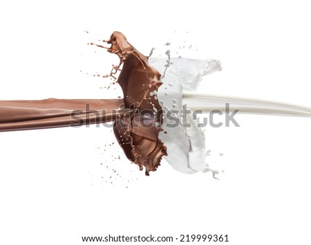 milk and chocolate splashing together - stock photo