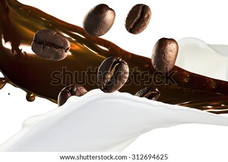 Milk And Coffee Splash on Coffee Beans - stock photo