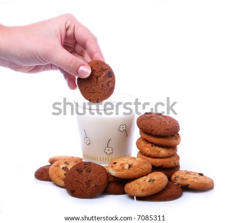 Milk and cookies - stock photo