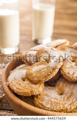milk and cookies on the table