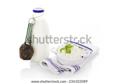 Milk and curd isolated on white background. Traditional dairy products. - stock photo