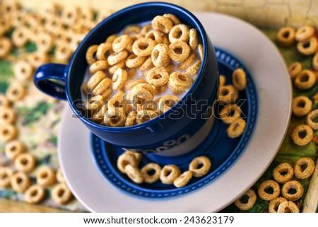 Milk and honey cereals - stock photo