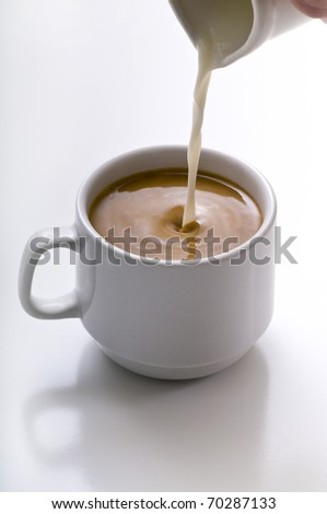 Milk being poured into small cup of coffe. - stock photo