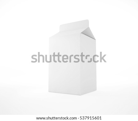 Milk blank white carton boxes 3d render. Isolated object