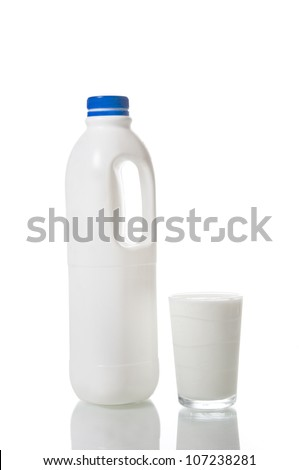 Milk bottle and a glass of milk isolated on white background - stock photo