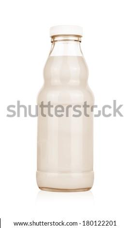 milk bottle isolated on white - stock photo