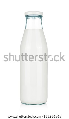 milk bottle isolated on white - stock photo