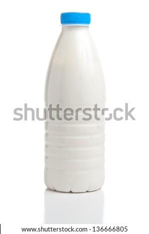 Milk bottle isolated on white background - stock photo
