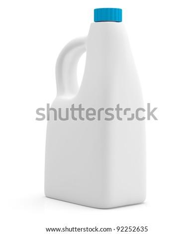 Milk bottle isolated on white background. 3D model - stock photo