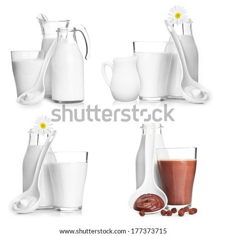 Milk bottle, jar and glass isolated on white background. - stock photo