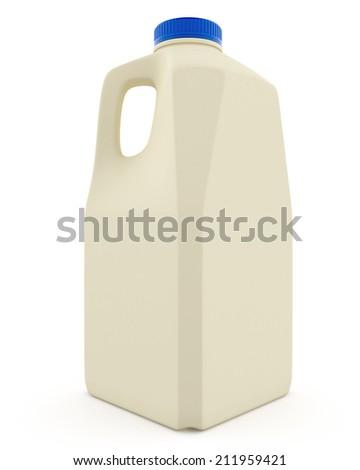 Milk Bottle with Blue Cap on White Background. - stock photo