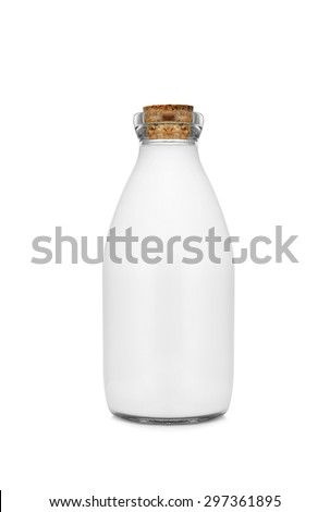 Milk bottle with cork top isolated on white background - stock photo