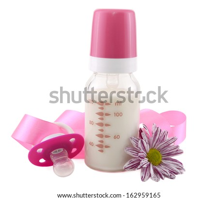Milk bottle with flower, lace and nipple isolated - stock photo